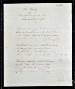 An image of NRO, MC 1389/1, 810X2 Manuscript Poem by Amelia Opie, 1825, 'In Memory of our beloved young friend Thomas Sparshall'
