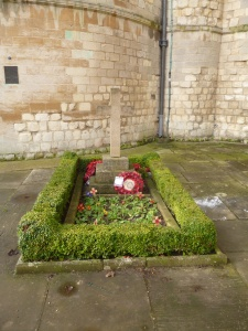 An image of the grave of Edith Cavell at the east end of Norwich Cathedral.  There is a graveside service here every October. Photographer K. Gaffney, 2013.