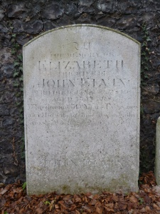 An image of Elizabeth Elvin's gravestone. Photographer N. Moss 2013