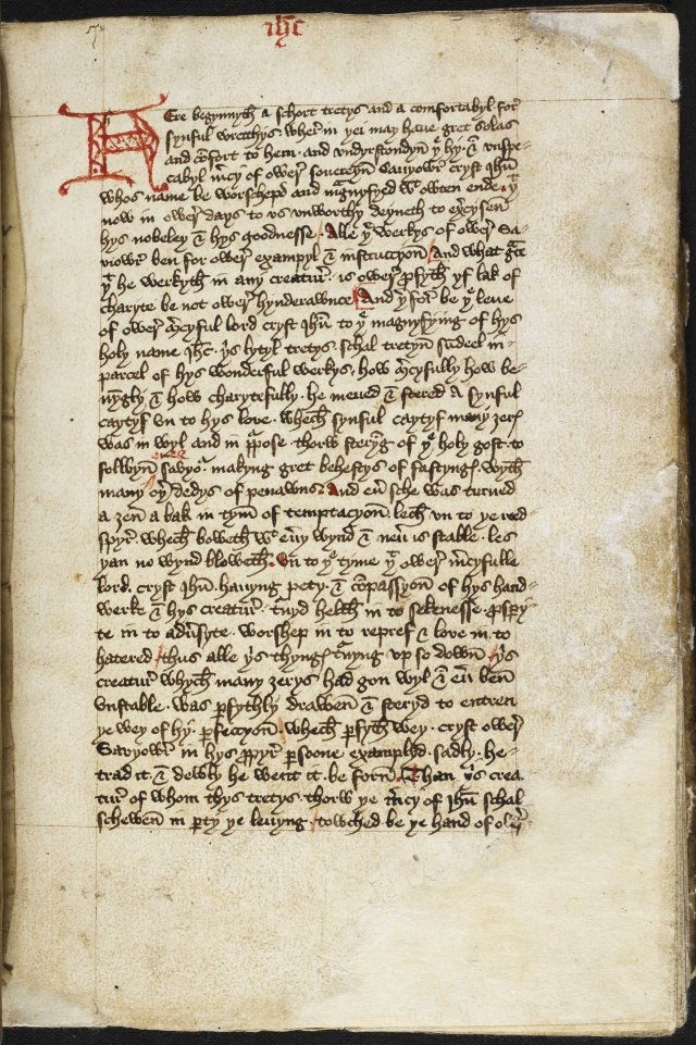 An image of The Book of Margery Kempe: autobiography; circa 1440 . Middle English. Written in East Anglia, probably King's Lynn. © The British Library Board Additional MS 61823