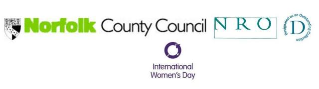 Logos of Norfolk County Council, Norfolk Record Office and International Women's Day
