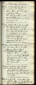 An image of Diary entry, 10-14 February 1787 On 12 Feb, Mary's eldest son Raven (named after her maiden name) died at home of tuberculosis, aged 19; it is thus the saddest entry in the whole text.
