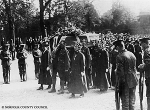 An image of Edith Cavell's funeral, the coffin arriving at Norwich Cathedral, 1919. Photographer George Swain. Picture Norfolk - NP00000916 Publication prohibited without the permission of Norfolk County Council