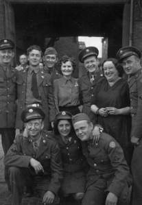 An image of Jolly Butchers public house, Ber Street, Norwich, the licensee Antoinette Hannent (Black Anna) with American service people. Picture Norfolk - NP00016246 Publication prohibited without the permission of M.Bartle