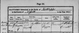 An image of NRO, PD 707/4, Parish Records of Northrepps, baptism register 1813-52. Benanna Golden daughter of John and Elizabeth was baptised 17 January 1825 in the parish of Northrepps.