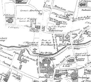 An image of Detail of R. Taylor's map showing St Margaret at Newbridge