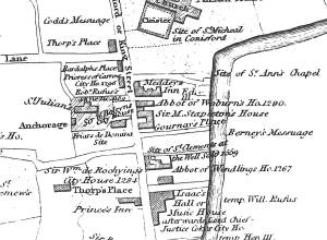An image of Detail of R. Taylor's map showing St Julian's Church and anchorage.
